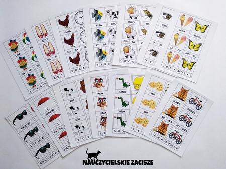 sylaby litery wyrazy karty plansze dla dzieci nauka czytania