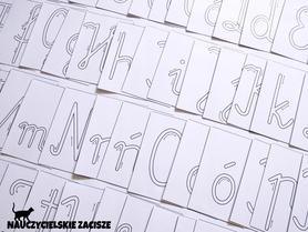 Wzory do pisania liter po śladzie alfabet