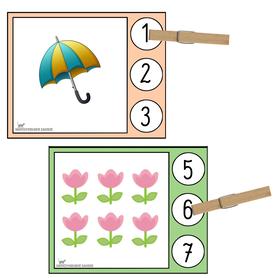 klamerkowy zestaw przeliczanie cztery pory roku przedszkolak
