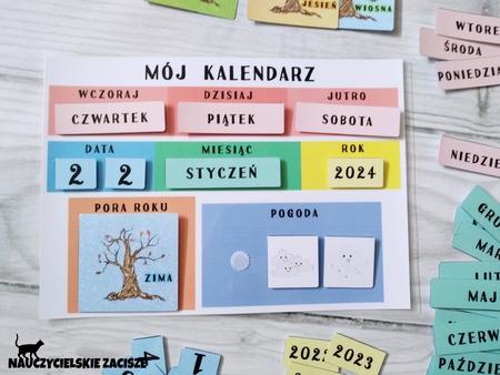 kalendarz, mój pierwszy kalendarz, dla dzieci, pogoda, pomoce dydaktyczne, terapeutyczne dla dzieci, edukacja, przedszkole