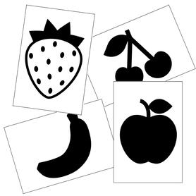 karty kontrastowe dla niemowląt dzieci malucha owoce