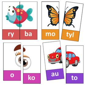 SYLABY Puzzle dla dzieci 36 wyrazów 2-sylabowych