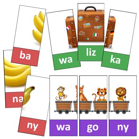 puzzle połówki wyrazy 3sylabowe czytanie dla dzieci