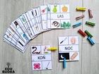 Klamerkowy zestaw pomoce dydaktyczne zadania dla przedszkolaka Nauka czytana dla dzieci