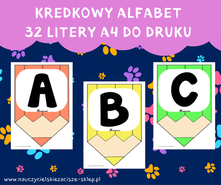 alfabet litery dekoracyjne na gazetkę kredki girlanda witamy w szkole przedszkolu