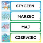 MIESIĄCE Podłużne plakietki 12szt 7x28 cm (1)